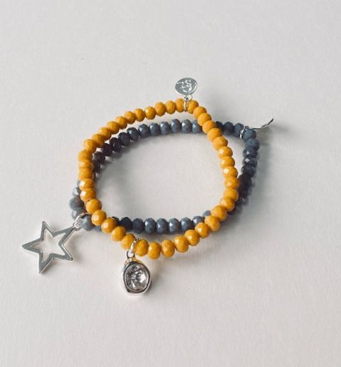 SET 2 CRYSTAL BRACELET YELLOW & GREY